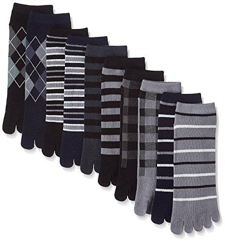 靴下 メンズ 5本指 ソックス / モノトーンカラーの10足セット かかと付きタイプ 五本指 (25-27cm)