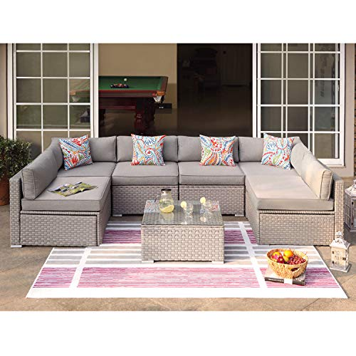 COSIEST 7-Piece Outdoor Furniture Set Warm Gray Wicker Sectional Sofa w Thick Cushions, Glass Coffee Table, Floral Fantasy Pillows for Garden, Pool, Backyard (Warm Gray)