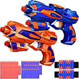 2 Pack Blaster Guns Toy 60 Bullets for Nerf & 2 Wristbands, Guns Toys for Kids Age 4-8 Birthday Gift for 5-7 Year Old Boys Girls Ideas Gifts for Boys Kids Age 6-10 Outdoor Games Toys for 9 yr Old Boy