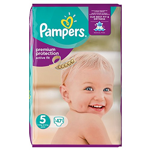 Pampers Premium Protection Active Fit - Pañales (tamaño 5, 47 unidades)