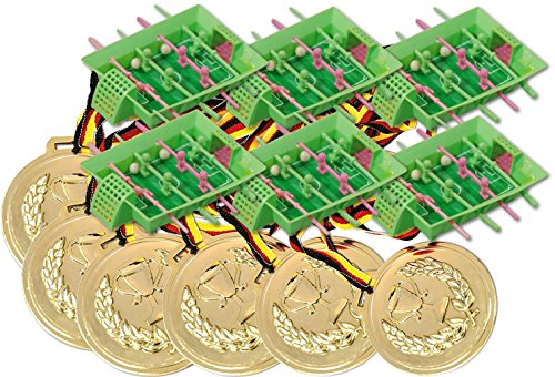 KSS 6 große Medaillen + 6 Mini Tischkicker Spiele Kindergeburtstag Mitbringsel Mitgebsel Tombola Verlosung kleine Preise