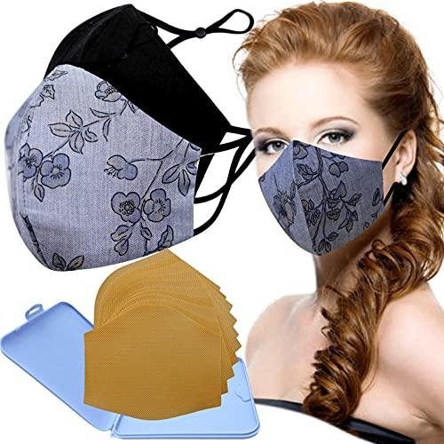 Cussi - Wiederverwendbare Hygienische Stoffmaske, zertifiziert UNE 0065:20 und BFE zertifiziert 99 %, waschbar bis zu 20 Zyklen – Packung mit 2 Masken, Etui, extra Filter (FLOR DENIM, schwarz).