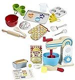 Melissa & Doug Bundle Includes 2 Items Wooden Make-a-Cake Mixer Set (11 pcs) - Play Food and Kitchen Accessories Baking Play Set (20 pcs) - Play Kitchen Accessories