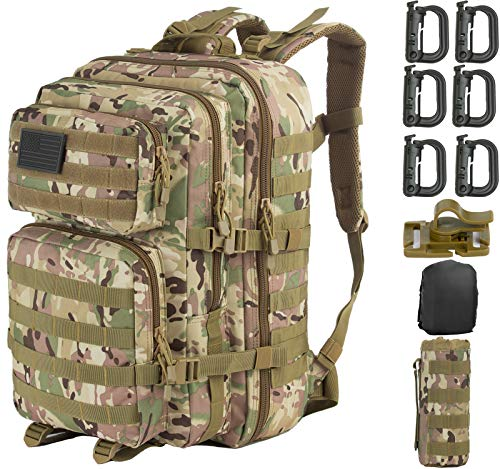 GZ XINXING 43L Large 3 day Molle Assault Pack Military Tactical Army Backpack Bug Out Bag Rucksack Daypack (CP)