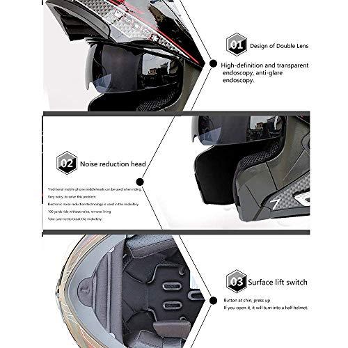 Leaf&Y Modularer Bluetooth-Smart-Motorradhelm, Anti-Fog-Doppelvisier-Klapphelm, Offroad-Motorrad-Roller-Rennhelm mit automatischer Rufannahme/Musik,L - 5