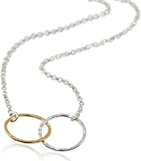 Two Tone Eternity Infinity Necklace 925 Sterling Silver & 14k Gold Filled, 18