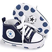 Tutoo Unisex Baby Boys Girls Star High Top Sneaker Soft Anti-Slip Sole Newborn Infant First Walkers Canvas Denim Shoes, A04-royal Blue, 6-12 Months Infant