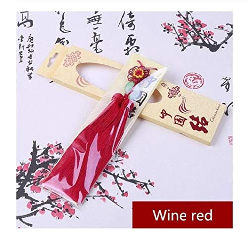 Key Chain, 1PC Sun Flowers Chinese Knots Jade Tassel Keychain Caps Straps Jewelry Making Charms Pendants Craft Accessories Craft Tassel (Color : Wine red)