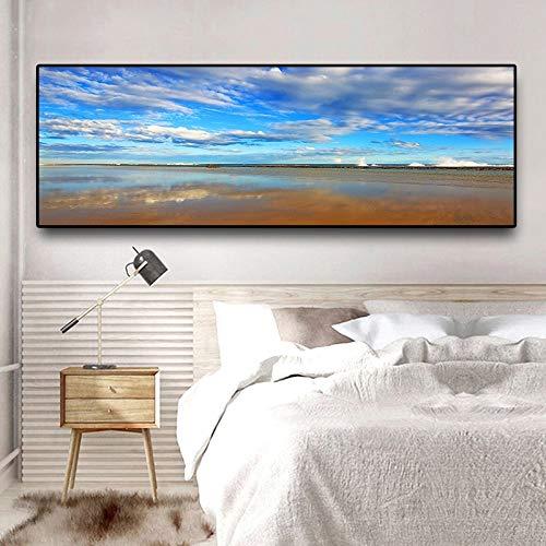DERFV Naturaleza océano Playa Cielo Nubes Panorama Paisaje Lienzo Cartel Sala de Estar decoración Pintura
