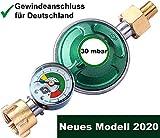 CAGO Gasregler 30 mbar mit Manometer Gas Füllstandsanzeige Schlauchbruchsicherung Druckminderer Camping Druckregler Butangas Gasflasche