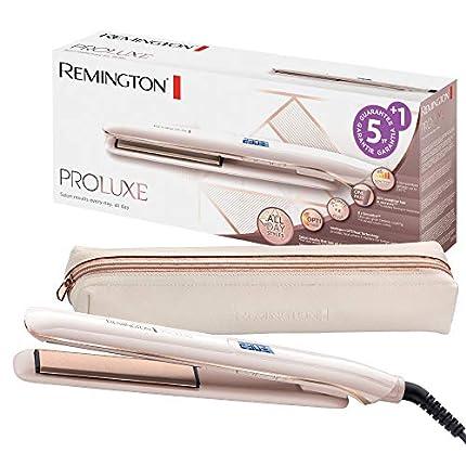 Remington ProLuxe Plancha de Pelo - Cerámica, Resultados Profesionales, Tecnología OPTIHeat, Digital, 6 Ajustes, Rosa Metalizado - S9100