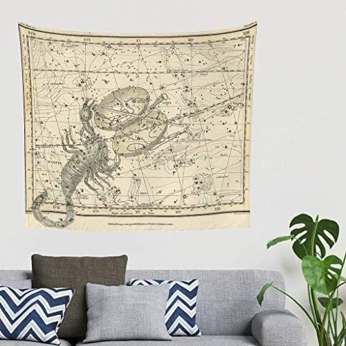 Tapiz para colgar en la pared, diseño de signo del zodiaco del Atlas celestial, estilo vintage, 230 x 150 cm, color blanco