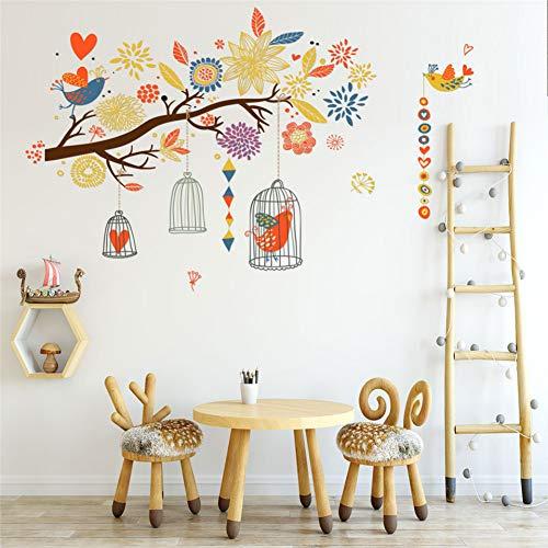 PISKLIU Muurstickers Kleurrijke Boom Bloemen Kooi Muurstickers Voor Kinderen Kinderkamer Kwekerij Vogels Pvc muurschildering Verwijderbare Lijm Poster