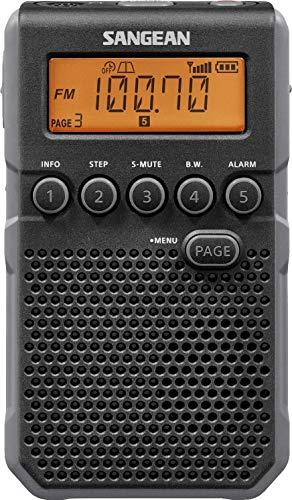 Sangean DT-800BK AM/FM / NOAA Weather Alert/Rechargeable / Alarm Clock / 45 Pre-Sets/Pocket Radio (Renewed)