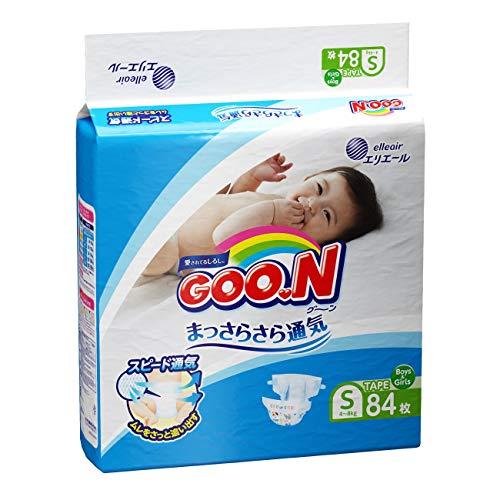 GOO.N Japanische Baby Windeln für Neugeborene Größe S (4-8 kg) 84 Stück Ultraweiche Superdünne Atmungsaktive Hochsaugfähige Windeln Größe 2