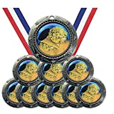 Antique Silver Dome Series Cheer Cheerleading Award Medals Champion Winner with Red White and Blue Neck Ribbons (Pack of 10)
