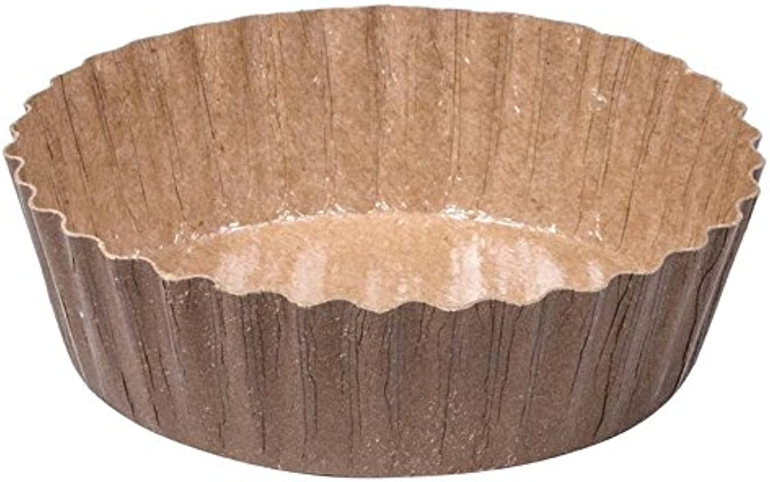 SOLUT  91068 Fluted Wall Round Baking Cup, 5.7 oz. Capacity, 4  Diameter x 1-1 8  Depth, Paper, Kraft Brown (Pack of 1200)