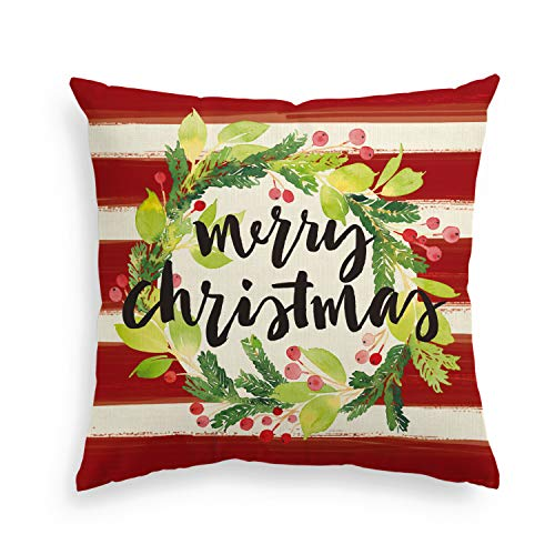 AVOIN Merry Christmas Watercolor Stripes Holly Berry Wreath Throw Pillow Cover, 18 x 18 Inch Winter Holiday Cushion Case Decoration for Sofa Couch