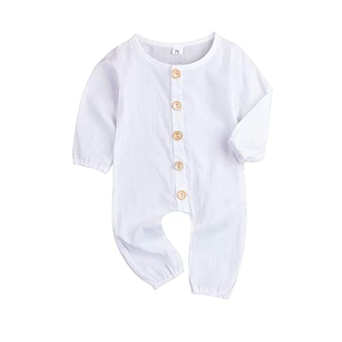 3bdbe5afb42f XiaoReddou One Piece Outfits Baby Solid White Rompers with Button Kids  Sleeveless Playsuit Jumpsuits Pants Cotton