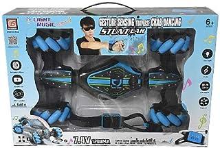 لعبة سيارة مجنونة مع 2 جهاز تحكم عند بعد وساعة يد - باللون الازرق