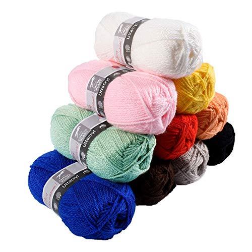 Laines Cheval Blanc - Lot 10 pelotes de laine multicolore (10x50g) UTTACRYL 100% acrylique - 1300 m de laine pour tous vos loisirs créatifs et amigurumis