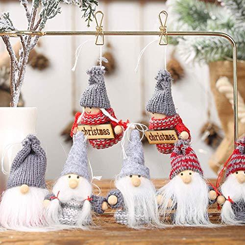 Navidad suministra la decoración de Navidad Adornos Festival, 2pcs Navidad de los niños de Santa Gnome muñeca colgante de la decoración del árbol colgante partido casero gris rojo sombrero viejo Lsmaa