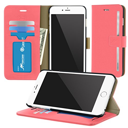 iPhone 6s Case, roocase [Prestige Folio] iPhone 6s Wallet Case - [Stand Feature] Premium Synthetic Leather Folio Flip Case Cover with Card Holder for Apple iPhone 6s / 6 (2015), Crimson Rose