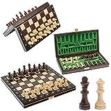 Hermoso Juego de ajedrez de Madera MAGNÉTICO, Juego de ajedrez con Figuras magnetizadas, Juego clásico Hecho a Mano ... (Escuela 26cm)