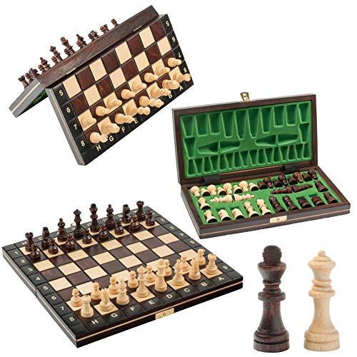 Magnifique jeu d'échecs en bois MAGNÉTIQUE, jeu d'échecs avec figurines aimantées, jeu classique artisanal… (école 26cm)