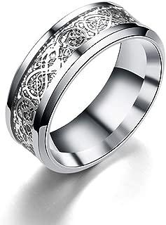 anillo de acero inoxidable anillo de dragón Dragón con figuras de dragón joyería del anillo del dragón para los hombres y mujeres de 8 mm (plata)
