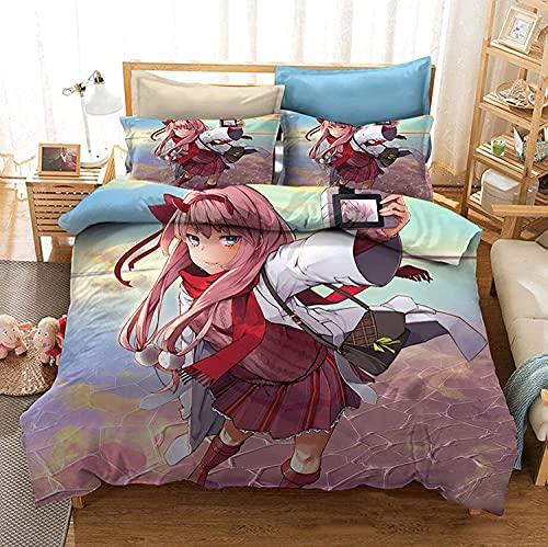 LXSMGS Darling In The FRANXX Zero Two Anime Juego de ropa de cama de microfibra, experiencia perfecta, juego de 3 piezas (Franx4,220 x 240 cm + 80 x 80 cm x 2)