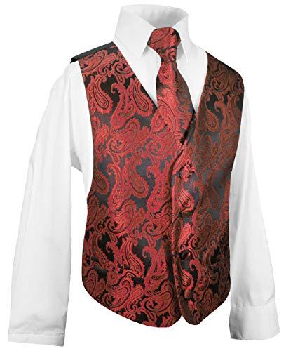 Festliche Kindermode Kinder Weste für Jungen 3tlg rot Paisley + Kinderhemd + Krawatte I Hochzeit 152 (12 Jahre)