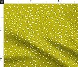 Spoonflower Stoff – Punkte Bubbles senffgelb grün weiß
