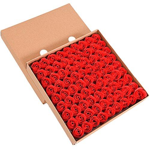 ZUMUii Butterme 81pcs Mano Bagno profumato Sapone del germoglio della Rosa Petali di Fiori di Favore di Nozze in Contenitore di Regalo (Rosso)