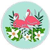 TOORY mural Toalla de Playa Redonda Toalla de Playa Redonda Grande con Estampado Flamingo Cute Toallas Toalla de baño Gruesa y Suave Estera de Yoga 59x59 Pulgadas-GRAMO_150X150CM
