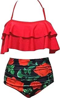 Qiyun Badeanzug Schwimmausrüstung 2 Pcs/Set Women Sexy Ruffle High Waist Swimsuit Bikini Set