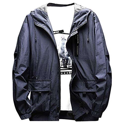 MAYOGO Wasserdicht Winddichte Outdoor Jacke Übergangsjacke für Herren, Männer Sweatjacke Laufen Sportjacke Trainingsjacke Freizeitjacke Light Jacket (Blue, L)