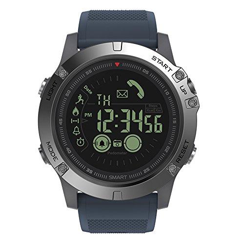Anself Sport Smart Watch intelligente Armbanduhr multifunktionelle Sportuhr Schrittzähler, Stoppuhr Wecker Fernbedienung für Kamera Notizenfunktion unterstützt iOS 7.0 Android 4.4 und höher (Blau)