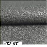 50x68cm in morbida pelle Pu Materiale Auto Rivestimento Interni Ecopelle Tessuto Neoprene per Mobili Sedile Divano Cintura Automotive 32 grigio scuro