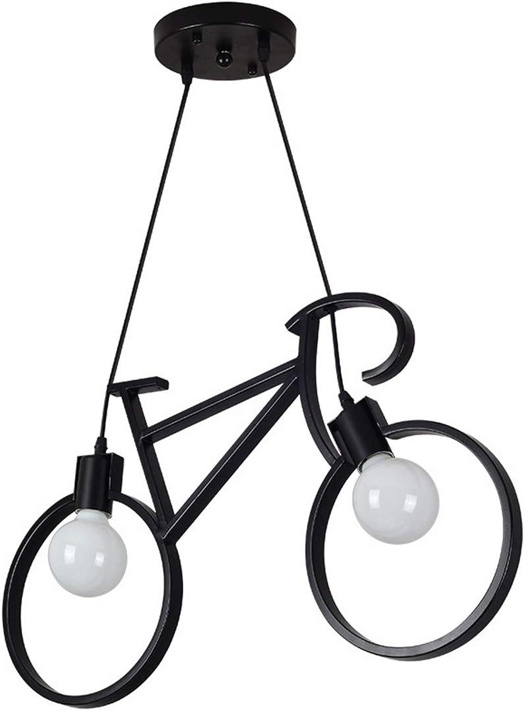 Warmhome Modern Eisenkunst Fahrrad-Kronleuchter E27  2 Einstellbare Lnge Karikatur Kinderzimmer schwarz Anti-Rost Cafe 63  36 cm(Lüster)