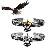 ZMMA 2 Piezas de Brazalete de águila de Plata esterlina, Brazalete de águila Ajustable Vintage de Moda, Brazalete de Extremo Abierto para Unisex Oro+Argento