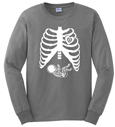 Tuecare Pregnant Skeleton Baby Maternity Themed Costume Long Sleeve Camisetas XXXX-Large Sport Gray
