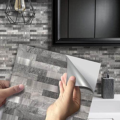 Qikafan 25 unids/Paquete Pegatinas de Azulejos de Mosaico Peel & Stick Muro Autoadhesivo Traslados Traslados Cubre Splashback para la Cocina Baño DIY Calcomanías