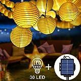 Opard 2 in 1 Solar LED Lichterketten Lampions LED 6.5m 30 Laterne IP65 Wasserdicht für Garten, Hof, Party, Balkon, Hochzeit, Außen, Fest Deko(Warmweiß)