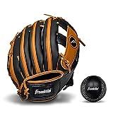 Franklin Sports Kids Baseball Gloves - RTP Child's Tball Glove + Ball Set - Boys + Girls Teeball Mitt Set - Kids + Toddler - Right Hand Throw - 9.5' - Tan