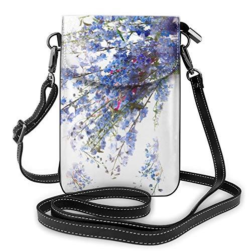 Bolso ligero del teléfono celular de la PU, bolso pequeño de la muchacha de las flores de la muchacha del bolso del hombro de la cartera del bolso del bolso, color Negro, talla Talla única