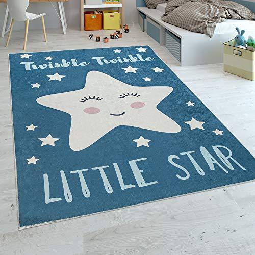 Paco Home Tappeto per Bambini Stanza dei Bambini Maschietti Lavabile Stelle Carine Detto Blu Bianco, Dimensione:80x150 cm