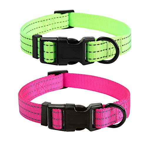 Mile High Life Collar para Perro Nylon con Tres Correas Reflectantes 3M (Cuello Medio 35,5 cm - 48 cm -18 kg, Verde / Rosa)