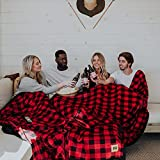 Big Blanket Co Original Stretch Red Plaid | 10' x 10' Extra Large Throw Blanket | Soft, Cozy Outdoor Blanket for Summer and Giant Picnic Blanket | Machine Washable & Temperature Regulating