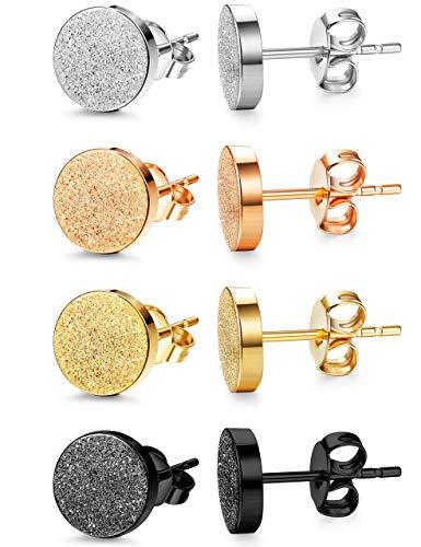 Milacolato 4 pares de Moda Aretes de Acero Inoxidable Para Hombres Mujeres Piercing del oído 6-8mm